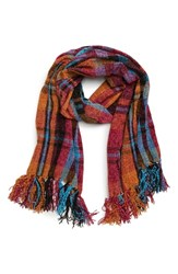David And Young Plaid Chenille Scarf Blue Pink