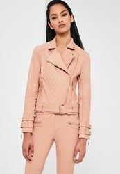 Missguided Nude Faux Leather Quilted Biker Jacket