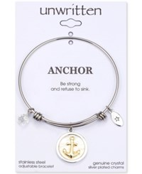 Unwritten Strength Mother Of Pearl Anchor Charm Adjustable Bangle Bracelet In Two Tone Stainless Steel