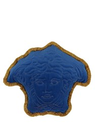 Versace Medusa Shaped Cotton Velvet Pillow Blue Gold