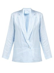 Loup Charmant Crossover Front Linen Blazer Blue