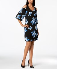 Connected Floral Print Cold Shoulder Dress Black White Cobalt