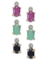 Victoria Townsend Oval Cut Emerald Ruby And Sapphire And Diamond Accent Stud Trio In 18K Gold Over Sterling Silver 2 3 8 Ct. T.W.