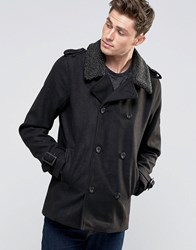 Brave Soul Pea Coat With Sherpa Collar Black