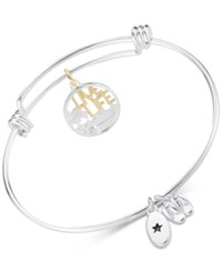 Unwritten Live Life Beach Theme Adjustable Bangle Bracelet In Two Tone Stainless Steel