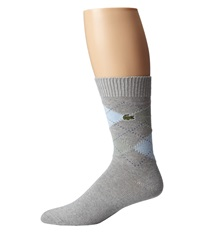 Lacoste Argyle Sock Silver Chine Silex Green Atmosphere Admiral Blue Men's Quarter Length Socks Shoes Gray