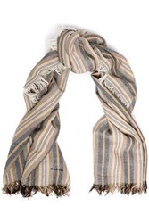 Chan Luu Woman Fringe Trimmed Striped Cashmere And Silk Blend Scarf Taupe