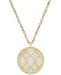 Charter Club Gold Tone Shell Look Filigree Pendant Necklace Only At Macy's