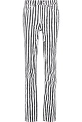 Marc By Marc Jacobs High Rise Striped Straight Leg Jeans Black