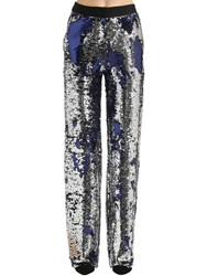Act N 1 Sequined Wide Leg Pants Silver Blue