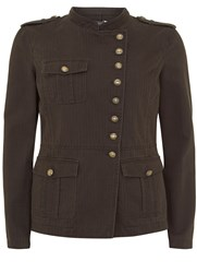 Mint Velvet Khaki Washed Military Jacket Dark Green
