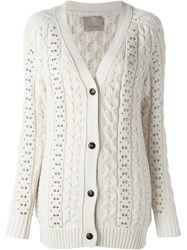Laneus Studded Cable Knit Cardigan White