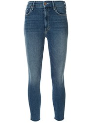 Mother Cropped Skinny Jeans Blue