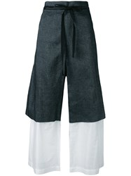 Roberts Wood Layered Tie Waist Trousers Blue