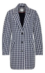 Sandwich Jacquard Long Coat Indigo