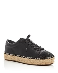 Kendall And Kylie Josyln Embellished Lace Up Espadrille Sneakers Black