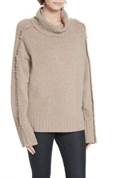 Brochu Walker Jolie Cashmere Fringe Turtleneck Sweater Wheatly