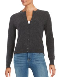 Lord And Taylor Petite Basic Crewneck Cashmere Cardigan Charcoal Heather