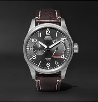 Oris Pro Pilot Calibre 111 Stainless Steel And Alligator Watch Black