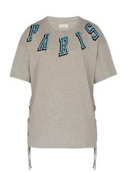 Faith Connexion Paris Print Tie Detail Cotton T Shirt Grey