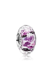 Pandora Design Pandora Charm Sterling Silver And Murano Glass Purple Sea Glass Moments Collection Silver Purple