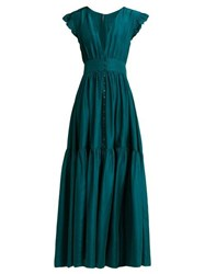 Loup Charmant Mayette Silk Tiered Maxi Dress Dark Green