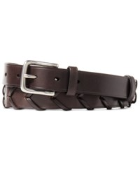 Polo Ralph Lauren Men's Woven Leather Belt Dark Brown