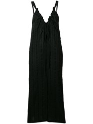 Tela Long Drawstring Neck Dress Black