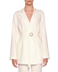 Agnona Double Wool Crepe Timeless Jacket Open White