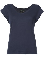 A.P.C. Short Sleeve T Shirt Women Cotton Modal S Blue