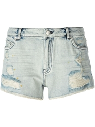 Blk Dnm Distressed Cut Off Shorts Blue