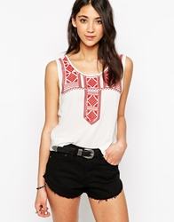Brave Soul Sleeveless Vest Top With Navajo Embroidered Insert Whitered