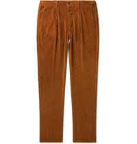 Altea Tapered Cotton Blend Corduroy Drawstring Trousers Brown