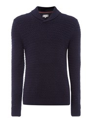 Linea Nouvel Shawl Neck Textured Jumper Blue