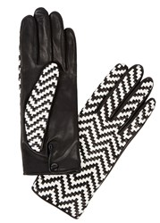 Agnelle Chloetresse Black Woven Leather Gloves Black And White