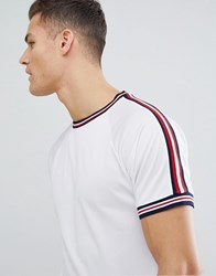 Bellfield T Shirt In Mesh With Stripe White