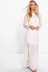 Boohoo Sarah Crochet Panel Maxi Dress Ivory