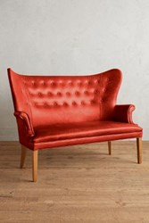 Anthropologie Premium Leather Wingback Bench Coral