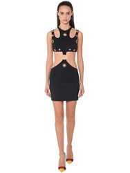 Fausto Puglisi Cut Out Jersey Mini Dress W Studs Detail Black