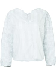 Des Pres V Neck Striped Blouse White