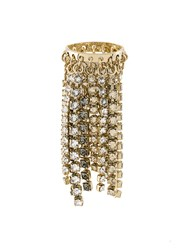 Lanvin Crystal Cascade Ring Brass Glass Metallic