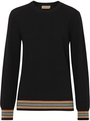 Burberry Icon Stripe Detail Merino Wool Sweater Black