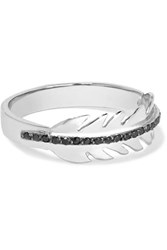 Ileana Makri Baby Eagle Feather 18 Karat White Gold Diamond Ring Silver