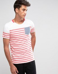 Jack And Jones Striped Pocket T Shirt Red
