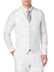 Perry Ellis Big And Tall Linen And Cotton Suit Vest Bright White