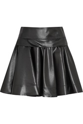 Dkny Circle Pleated Glossed Faux Leather Mini Skirt