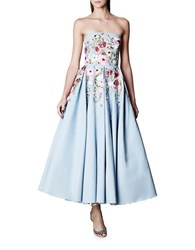 Marchesa Floral Motif Fit And Flare Gown Powder Blue