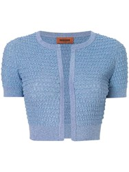 Missoni Cropped Textured Knit Cardigan Blue