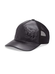 Gucci Tigers Embossed Leather Baseball Hat Black