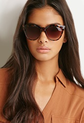 Forever 21 Classic Cat Eye Sunglasses Brown Gold